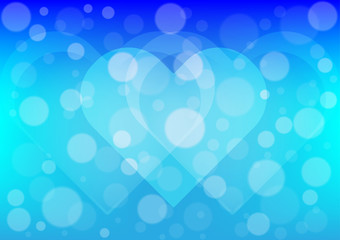 Heart  light on blue color background