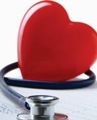 Red heart and a stethoscope.