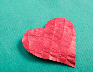Heart , isolated on green background.