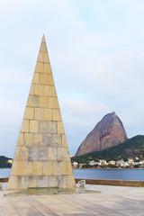 Monument Estacio de Sa in Park Flamengo (Aterro) Sugarloaf mount