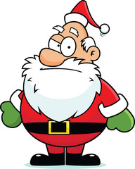 Cartoon Santa Claus Suspicious