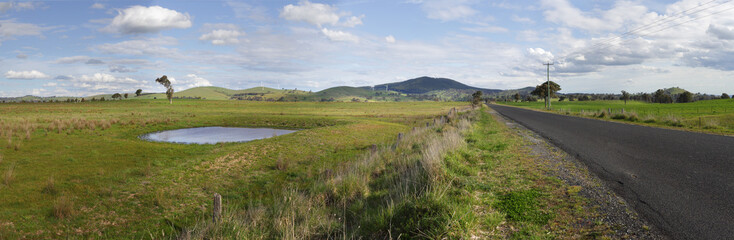 Grazing fields of Blayney and Wind Farm Landscape Panorama