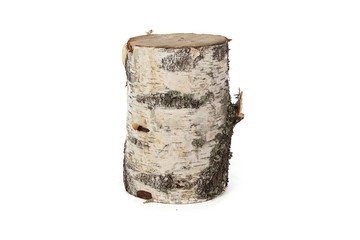 Isolated image of birch stump