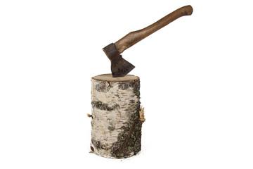 Photo of axe in the birch stump