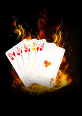 the cards are burning with fire background vector