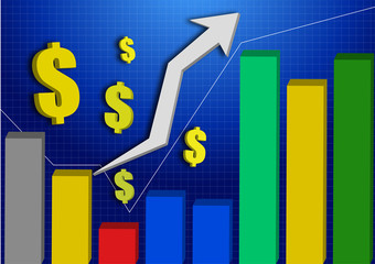 3d stocks graph upper with color volume indicator vector