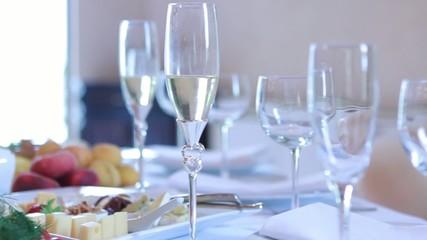 Three wine glasses on  table
