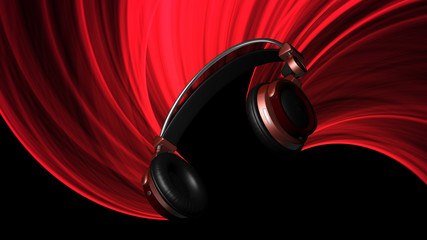Red Headphones Illustration with Red Light