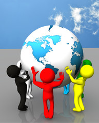 team work 3d people with world globe. protection, ecology, unity