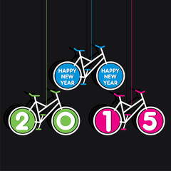 colorful new year 2015 design with bicycle theme vector