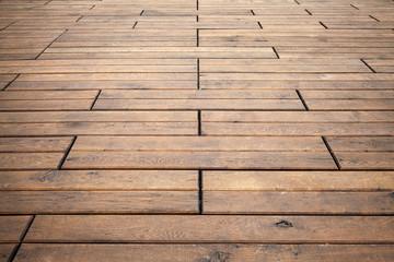 Brown wooden floor perspective. Background photo texture