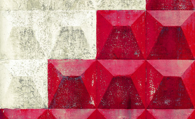 White and red pattern on concrete fence. Background texture. Ins