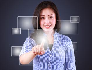business woman playing technology modern touch screen