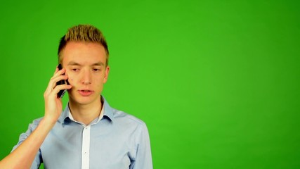 man - green screen - portrait - man on the phone - studio