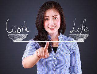 business woman showing balancing concept