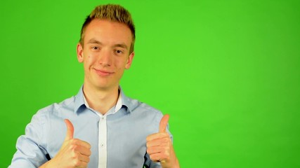man - green screen - portrait - man agrees (shows thumbs up)