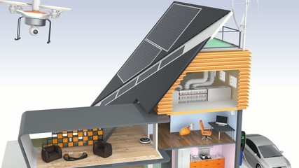 Smart house with energy efficient appliances and solar panel