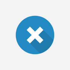 close Flat Blue Simple Icon with long shadow.