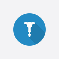 jackhammer Flat Blue Simple Icon with long shadow.