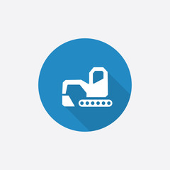 excavator Flat Blue Simple Icon with long shadow.