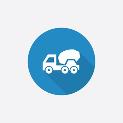 concrete mixer Flat Blue Simple Icon with long shadow.