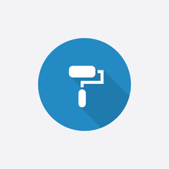 paint roller Flat Blue Simple Icon with long shadow.