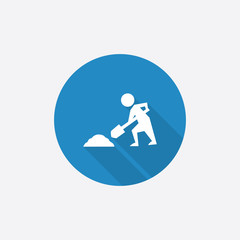 construction works Flat Blue Simple Icon with long shadow.