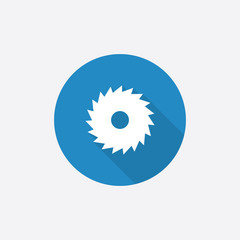 industrial saw Flat Blue Simple Icon with long shadow.
