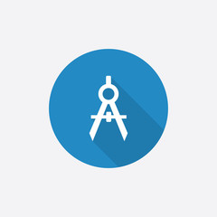 compasses Flat Blue Simple Icon with long shadow.
