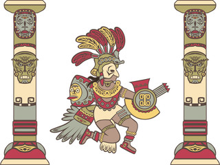 Aztec god between columns, colored illustration
