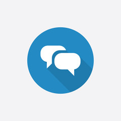 Conversation Flat Blue Simple Icon with long shadow.