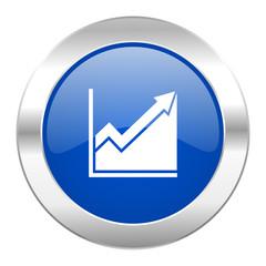 histogram blue circle chrome web icon isolated