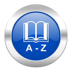 dictionary blue circle chrome web icon isolated