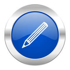 pencil blue circle chrome web icon isolated