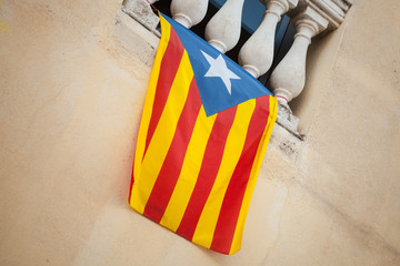 Flag of independent Catalonia hanging on the wall