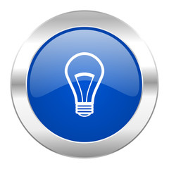 bulb blue circle chrome web icon isolated