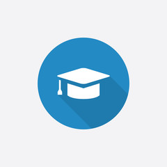 education Flat Blue Simple Icon with long shadow.