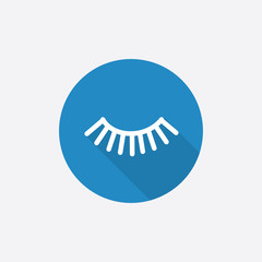 eyelash Flat Blue Simple Icon with long shadow.
