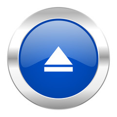 eject blue circle chrome web icon isolated