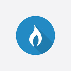 fire Flat Blue Simple Icon with long shadow.