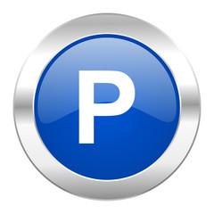 parking blue circle chrome web icon isolated