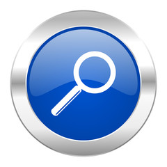 search blue circle chrome web icon isolated