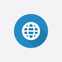 globe Flat Blue Simple Icon with long shadow.