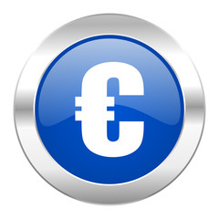 euro blue circle chrome web icon isolated