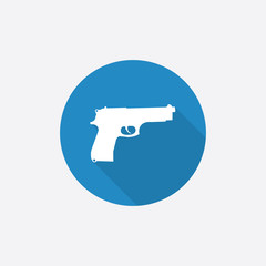 gun Flat Blue Simple Icon with long shadow.