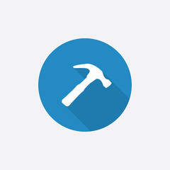 Hammer Flat Blue Simple Icon with long shadow.