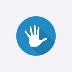 arm Flat Blue Simple Icon with long shadow.