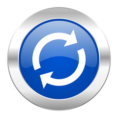 reload blue circle chrome web icon isolated
