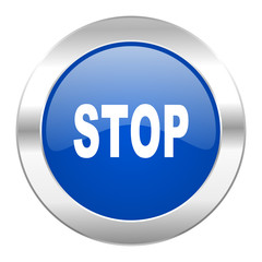 stop blue circle chrome web icon isolated