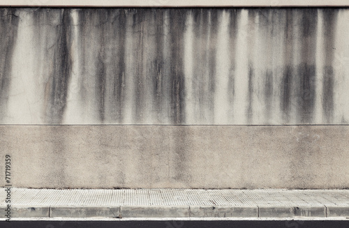Foto op Plexiglas Wand Old concrete wall and roadside. Abstract industrial interior bac
